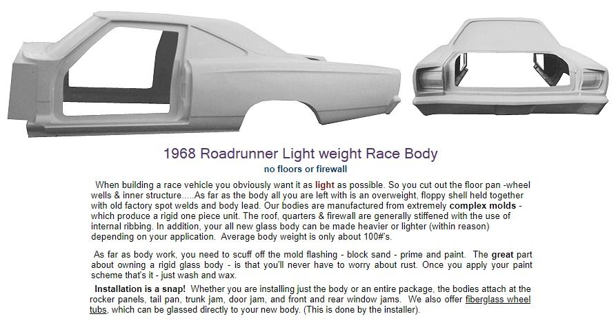 Fiberglass 1968,69 Plymouth Roadrunner,Satellite Auto parts