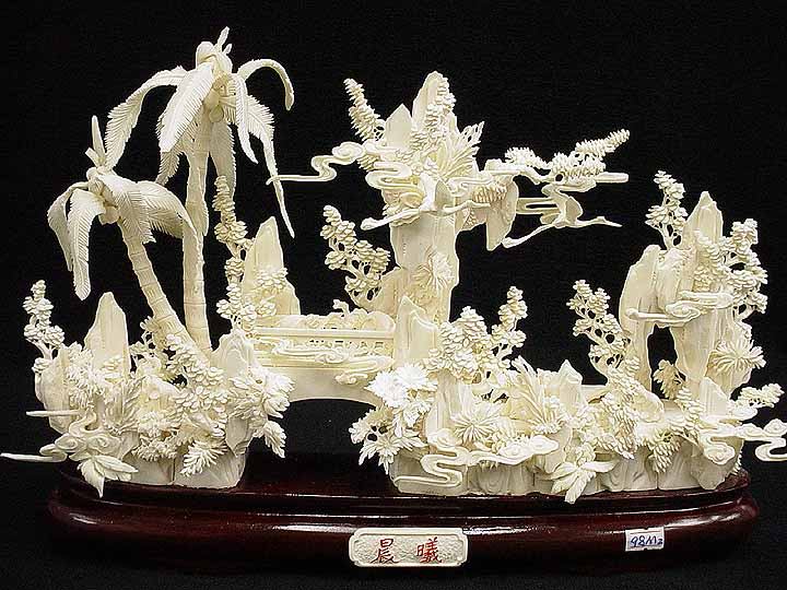 Elephants Bone Carving Mountain With Palm Trees 98m2
