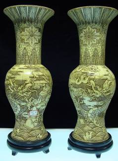 PAIR OF 20in ANTIQUE BONE VASES