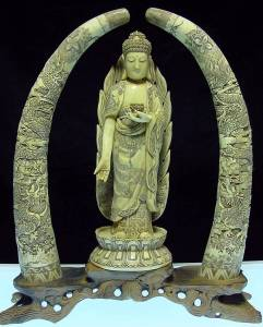 ANTIQUE BONE BUDDHA WITH PAIR OF TUSKS (F143)