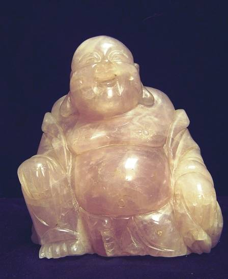 rose quartz buddha statue