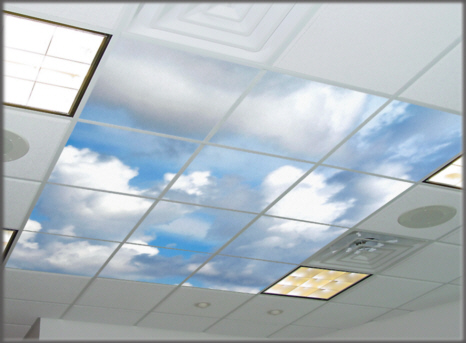 ceiling lens, light lens, acoustic tiles with photos printed on the surface, design 2114,Puffy Clouds