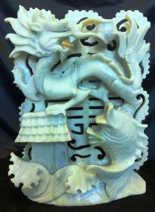Jade Fish and Lotus figurine statue