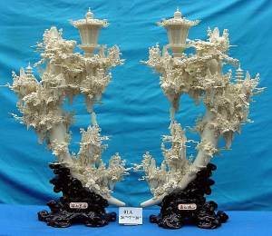 Bone Carvings PAIR OF PALACE LAMP TUSKS (01A)