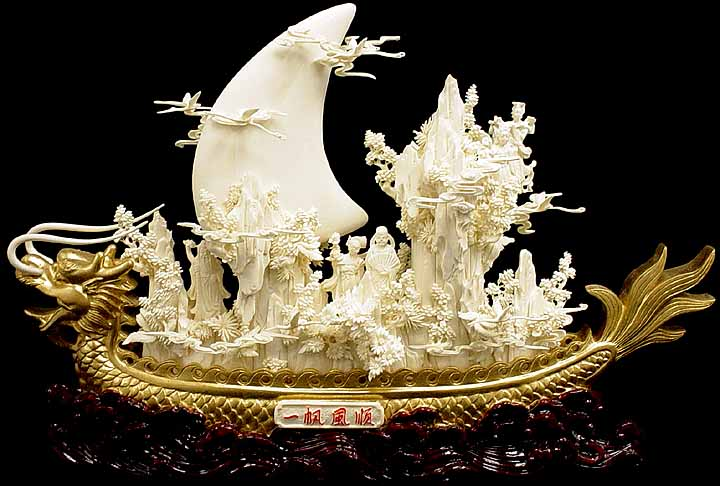 Gold and bone dragon boat carving handmade in china for