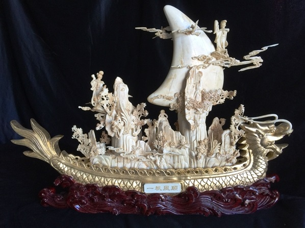 bone carving dragon boat