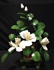 White Jade Flowers, Price = $49.99 + S/H size approx H. 13 inch x W. 12 inch