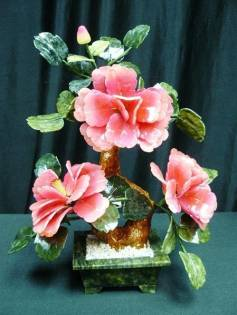 JADE FLOWERS (202-3D), Price = $49.99 + S/H size approx H. 12 inch x W. 12inch