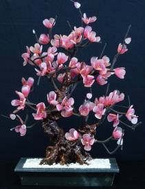 Jade Plum Blossem Flowers, Price = $84.99 + S/H size approx H. 18 inch x W. 12 inch