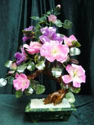 MIXED JADE FLOWER <br>22 inch JADE FLOWER TREE   Price = $ 149.99 + S/H. SIZE: H: 22in, D: 10in, W: 16in.