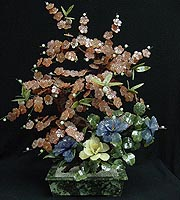 JADE FLOWERS & CHERRY BLOSSOM TREE (20B-6)  Price = $ 179.99 + S/H. SIZE: H: 24in, D: 12in, W: 18in.