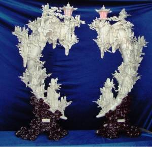 NO.(9503) - 62 Inch High PAIR OF BONE LAMPS SIMILAR TO THE LAMPS IN THE MOVIE RUSH HOUR 2 WITH JACKIE CHAN IN LAS VEGAS HOTEL ROOM (9503) $9899.00  One Left ! Click on the Carving to see a large picture.