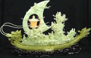 Exquisite Camel Bone and Gold Dragon Boat Carving Handmade in China Click on the dragon to see a larger picture.