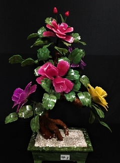 Jade Flowers, Price = $159.95 + S/H size approx H. 21 inch x W. 18 inch