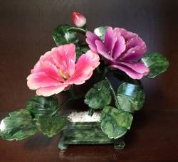 SMALL JADE FLOWER (99-5), Price = $39.95 + S/H size approx H. 7 inch x W. 8inch