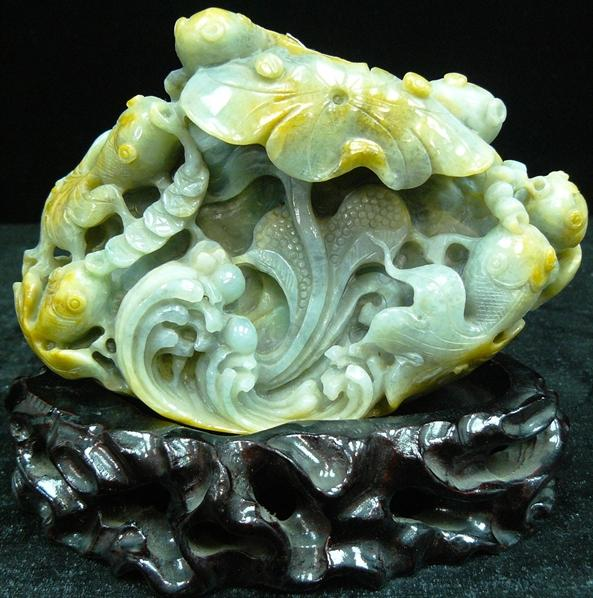 Jade Water Lily and Fish Sculpture