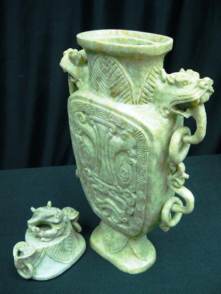 jade dragon vase carving