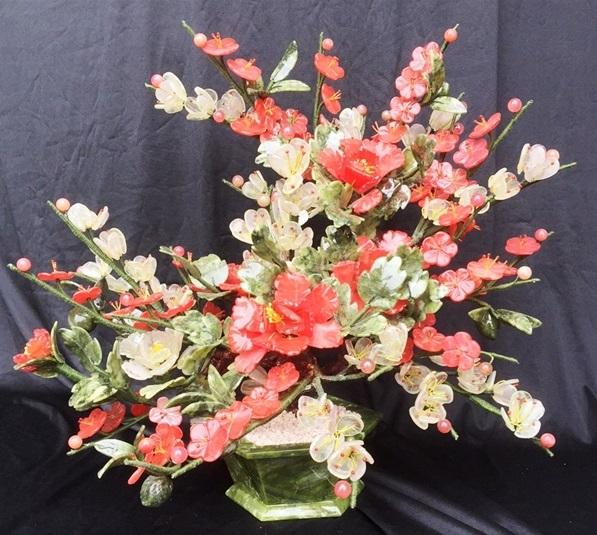 JADE Plum Flowers Basket F392
