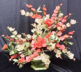 Plum Flowers Basket (F392)  Price = $ 295.00 + S/H.