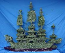 5 FOOT LONG ! 60 inch GREEN JADE DRAGON BOAT # ( J42 )   New Arrival ! THIS JADE DRAGON BOAT IS MADE OF TAIWAN JADE IN CHINA. WE ADOPTED THE BEST QUALITY OF JADE TO CARVE THIS BOAT. 3 TONS OF JADES WERE MADE INTO THIS DRAGON BOAT  AND IT TOOK 6 MONTHS, 10 SCULPTORS TO FULFILL. THE SAILS, CONSTRUCTIONS, CHAINS WERE MADE IN ONE PIECE OF JADE, AND YOU WILL ADMIRE HOW DETAILED THIS FINE STONE ART IS.  IN THE ANCIENT EAST, JADE REPRESENTS GOOD LUCK AND FORTUNE. DRAGON MEANS POWER. SO, THE WHOLE WORK MEANS EVERYTHING IS/WILL BE GOING SMOOTHLY IN YOUR LIFE, BUSINESS AND FAMILY. Click on the dragon to see a large picture.