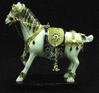 CLOISONNE HORSE, GOLD CLOISONNE & BONE HORSES, Price =  $ 59.99 + S/H size approx H. 4.5 inch x W. 4.5 inch