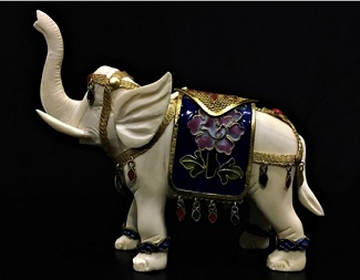 GOLD CLOISONNE & BONE ELEPHANT, Price =  $ 59.99 + S/H size approx H. 4.5 inch x W. 4.5inch