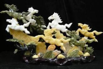 Jade Horses, jade horse WEIGHT: 30 LBS.
