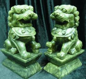 foodog a PAIR OF 10in GREEN JADE FU DOGS (HJ023). $299.99