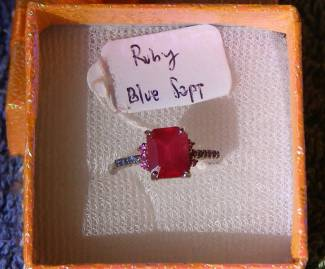 Ruby, Sapphire  Price = $ 599.00 + S/H. SIZE: 6.5.
