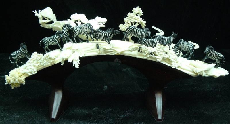 zebra bone carving