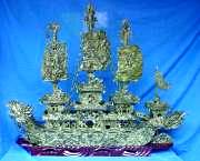 48 INCH GREEN JADE DRAGON SHIP (BJ120A)