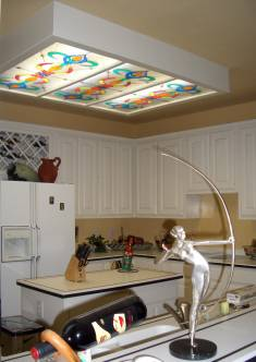 Ceiling Art. Translucent Ceiling Light Diffusers Custom hand made to resemble stained glass. Standard sizes, 2 ft x 4 ft Price ONLY $103.00 ea + S/H