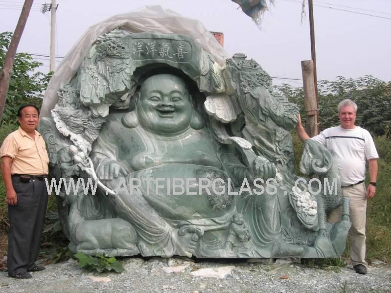 jade happy buddha statue carving