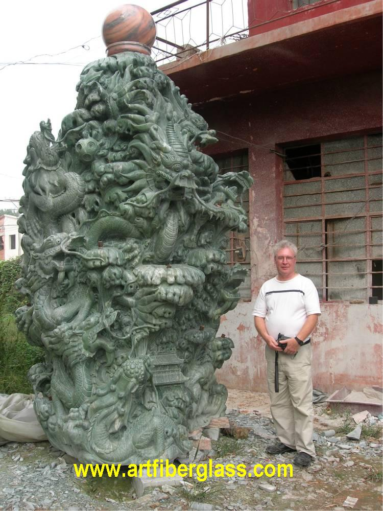 Jade Dragon Fountain Large Carving Wong8