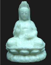 WHITE JADE SITTING KWANYIN 16 inch