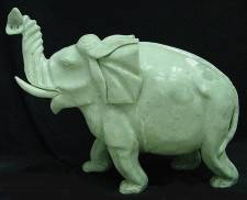 LG. JADE SINGLE ELEPHANT (LH9A) huge jade elephant. Made from one solid piece of jade. Size=  30 in X 12 in X 30 in.  Price= $ 899.00 + S/H