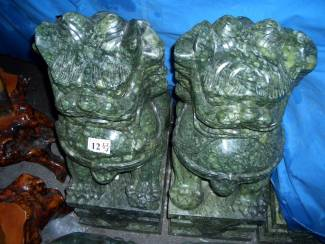 Large 28 in. Jade Foo Dog Carving