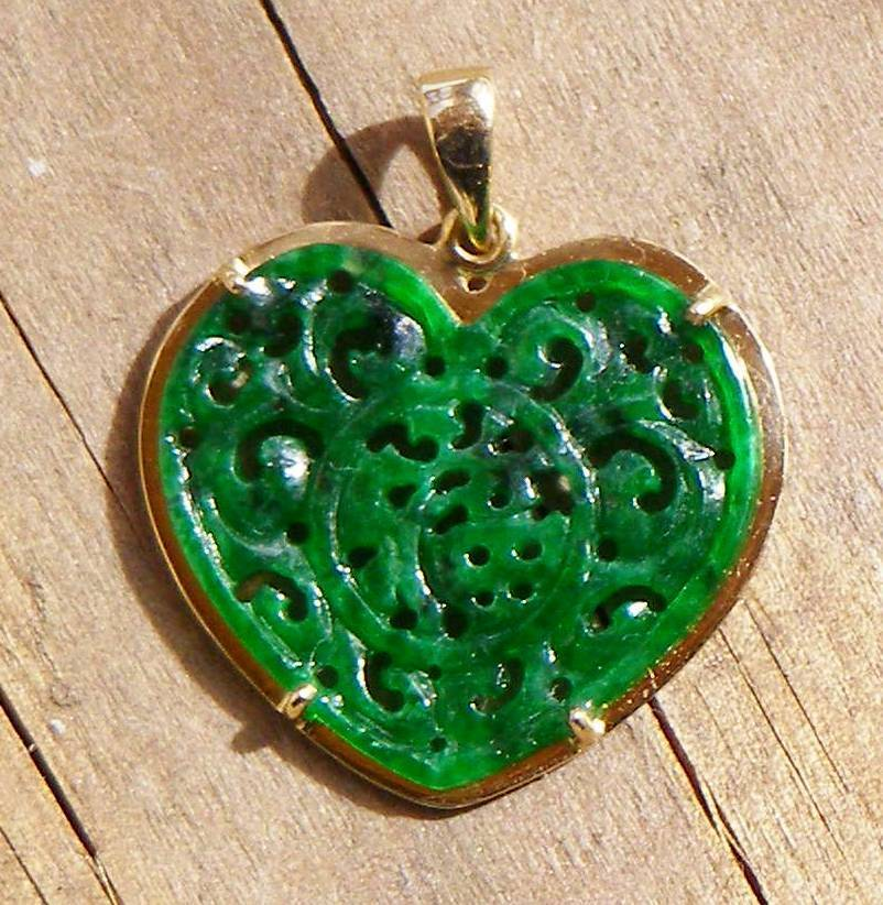 Jade pendant carving jade heart pendant mozeypictures Choice Image