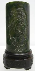 JADE flowers Tree vase Holder, 8 inch tall, Price = $ 289.00 + S/H. SIZE: H: 6in, W: 3.5in.