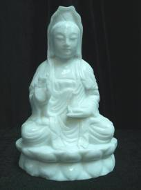 WHITE JADE SITTING KWANYIN (WJ56) Price = US $495.00. Size: W: 8in, D: 5in, H: 13in.