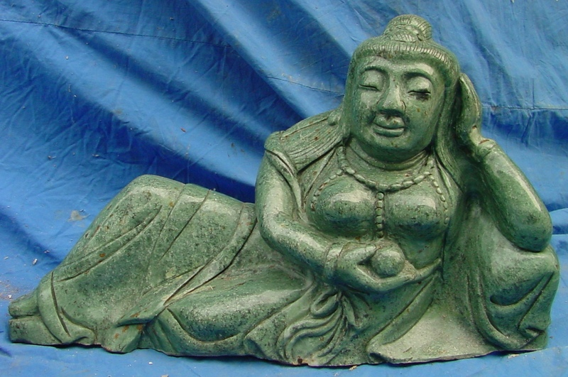 jade reclining kwan yin statue