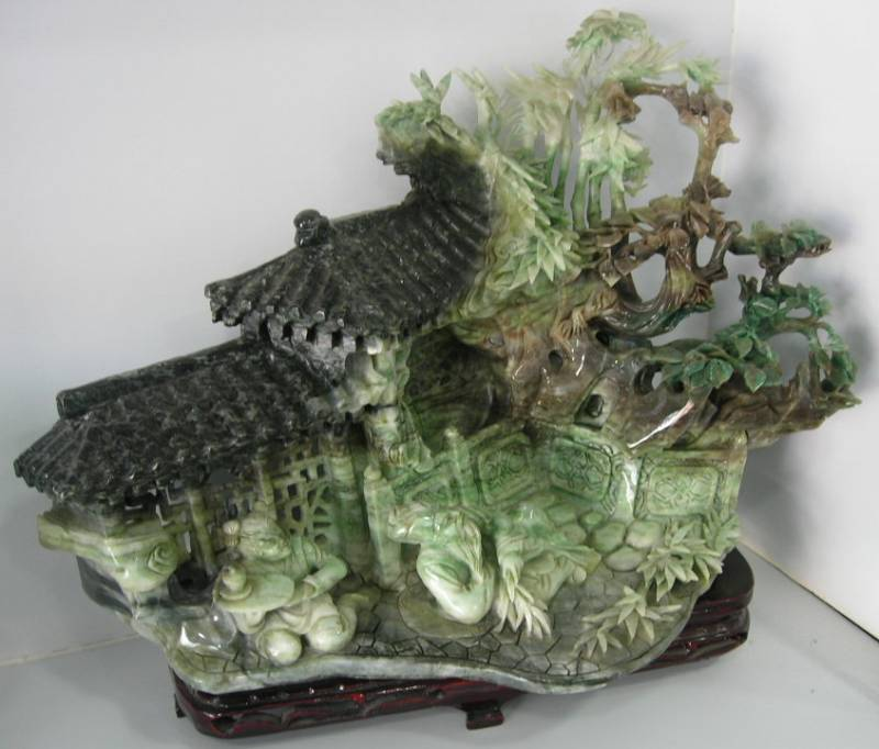 Jade stone carving village scenery