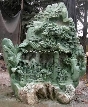 jade carving sculpture of village life in china,jade garden carving