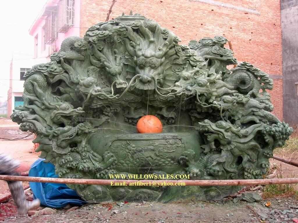 Dragon Jade 9 Dragons Fountain Garden Carving Cn0254