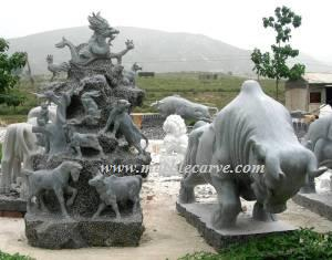 marble carving, Marble 12 zodiac animals. Marble Bull Carving