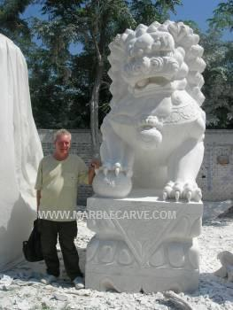 marble carving, Marble Foo Dog, Chinese Temple Lion