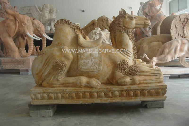 Marble Camels Statue Carving