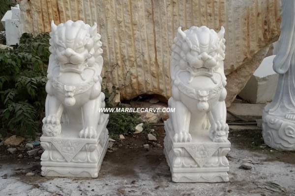white marble 120cm Fudog carving sculpture