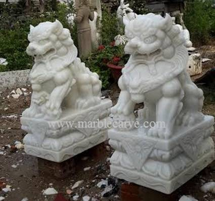 white marble 60cm Fudog carving sculpture