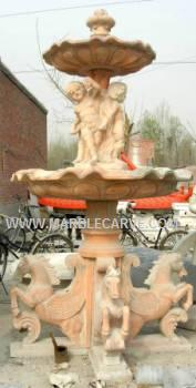 Marble Horses Fountain Sculpture Garden Carving With Pool and Horses and children photo image